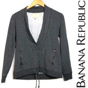 Banana Republic Gray Deep V Sweatshirt Pullover XS